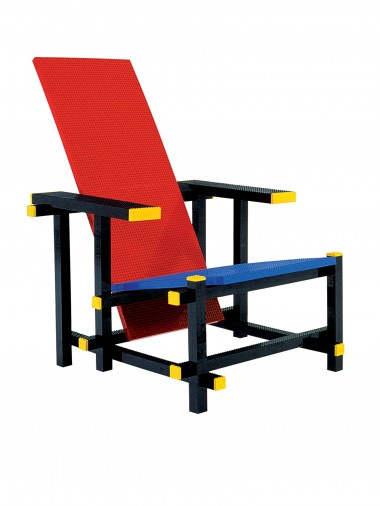 Red blue lego chair by Mario Minale